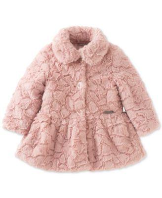 Calvin Klein Baby Girls Faux Fur Peplum Coat Girl Coat Peplum Coat Girls Faux Fur