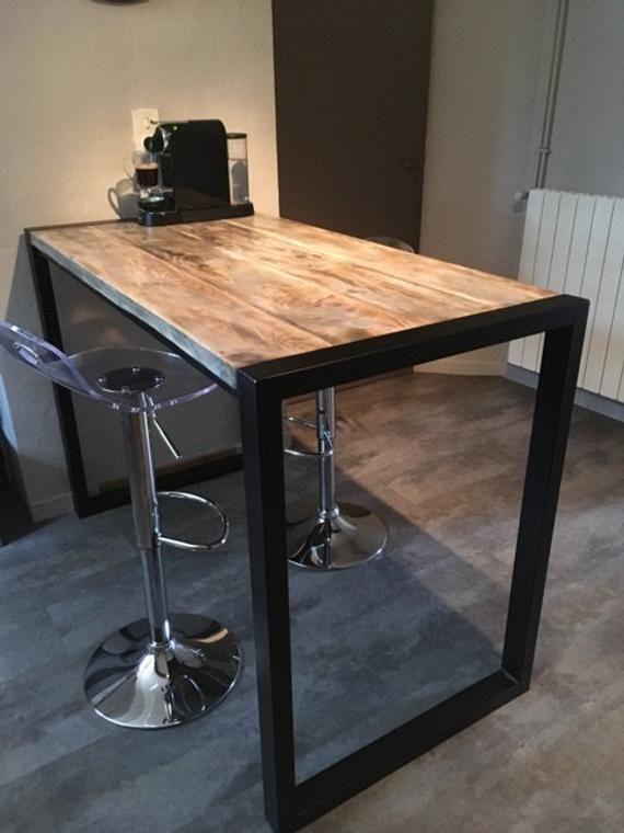 Table Standing Eat Industrial Style Metal Wood