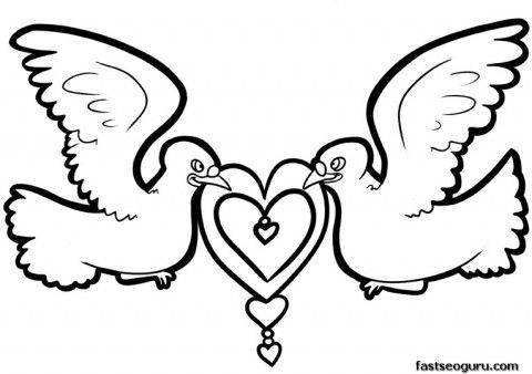 Printable Valentines Day Dove Bird with Hearts - Printable Coloring ...