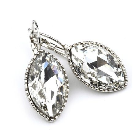 silver sparkle marquis drop earrings