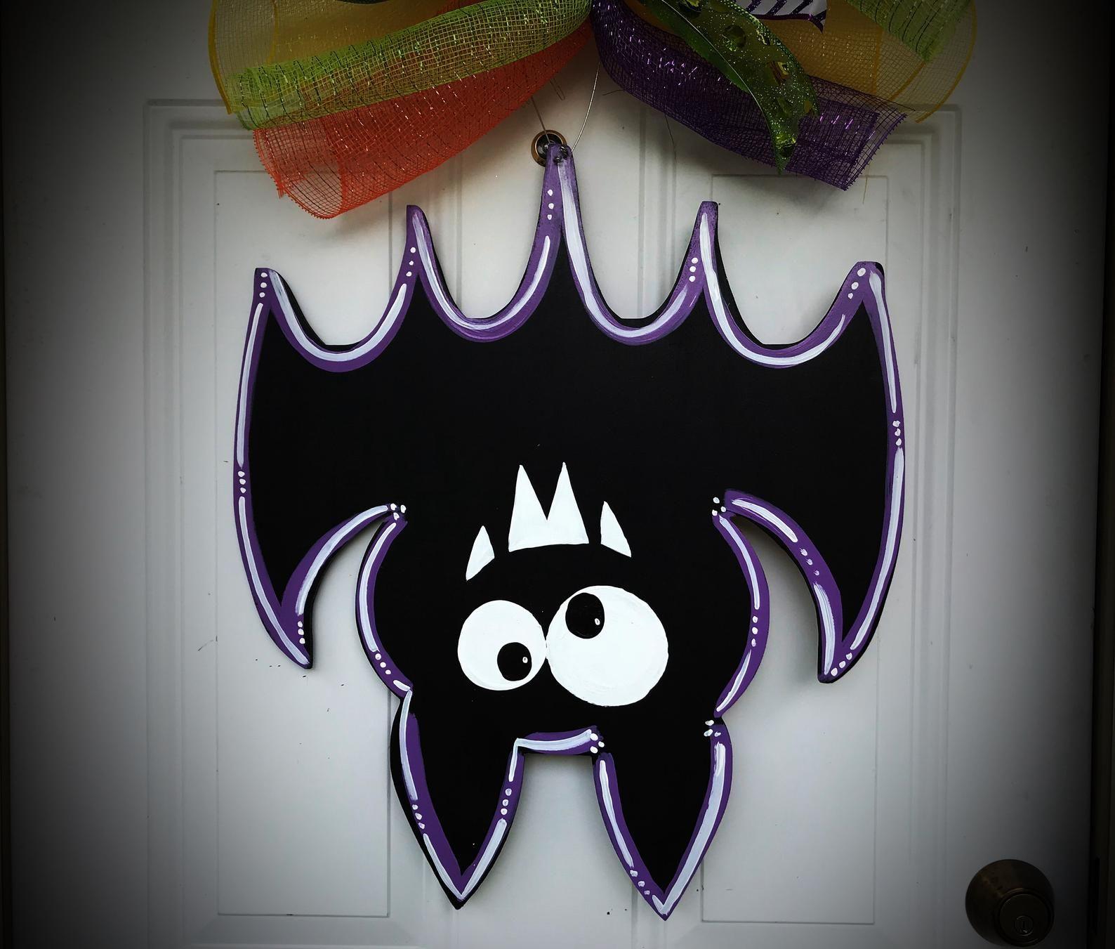 Halloween WreathHalloween bat door hangerHalloween door
