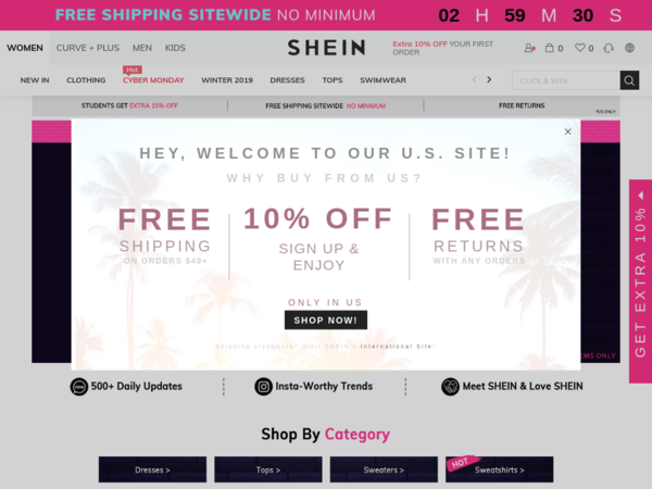 Shein Deals Free Shipping On Orders Over 49 Shein Coupons And Deals For January 2020 Shein Shein Coupon Sitewide