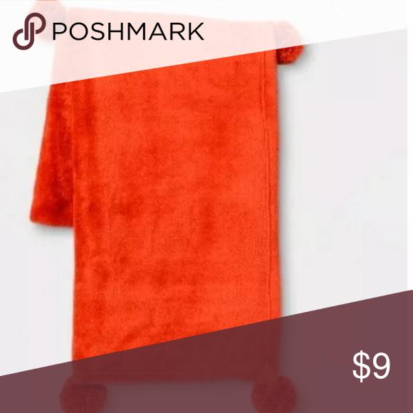 NWT Room Essentials Neon Orange Pom Pom Plush Fuzzy Soft Blanket Throw Kids New