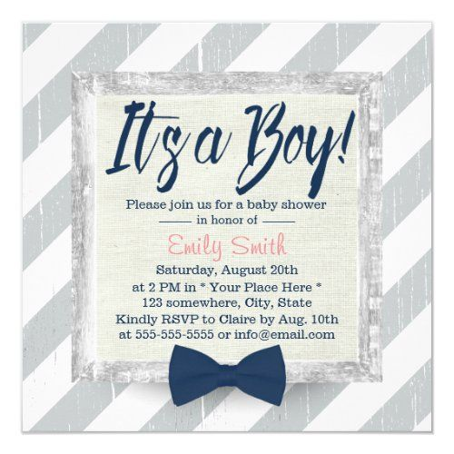Boy Navy Blue Bow Tie Grey Stripes Baby Shower Invitation | Zazzle.com