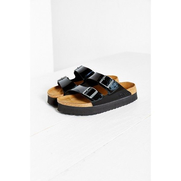 681a85383ab5 Birkenstock Papillio Arizona Platform Slide Sandal (100 CAD) ❤ liked on  Polyvore featuring shoes