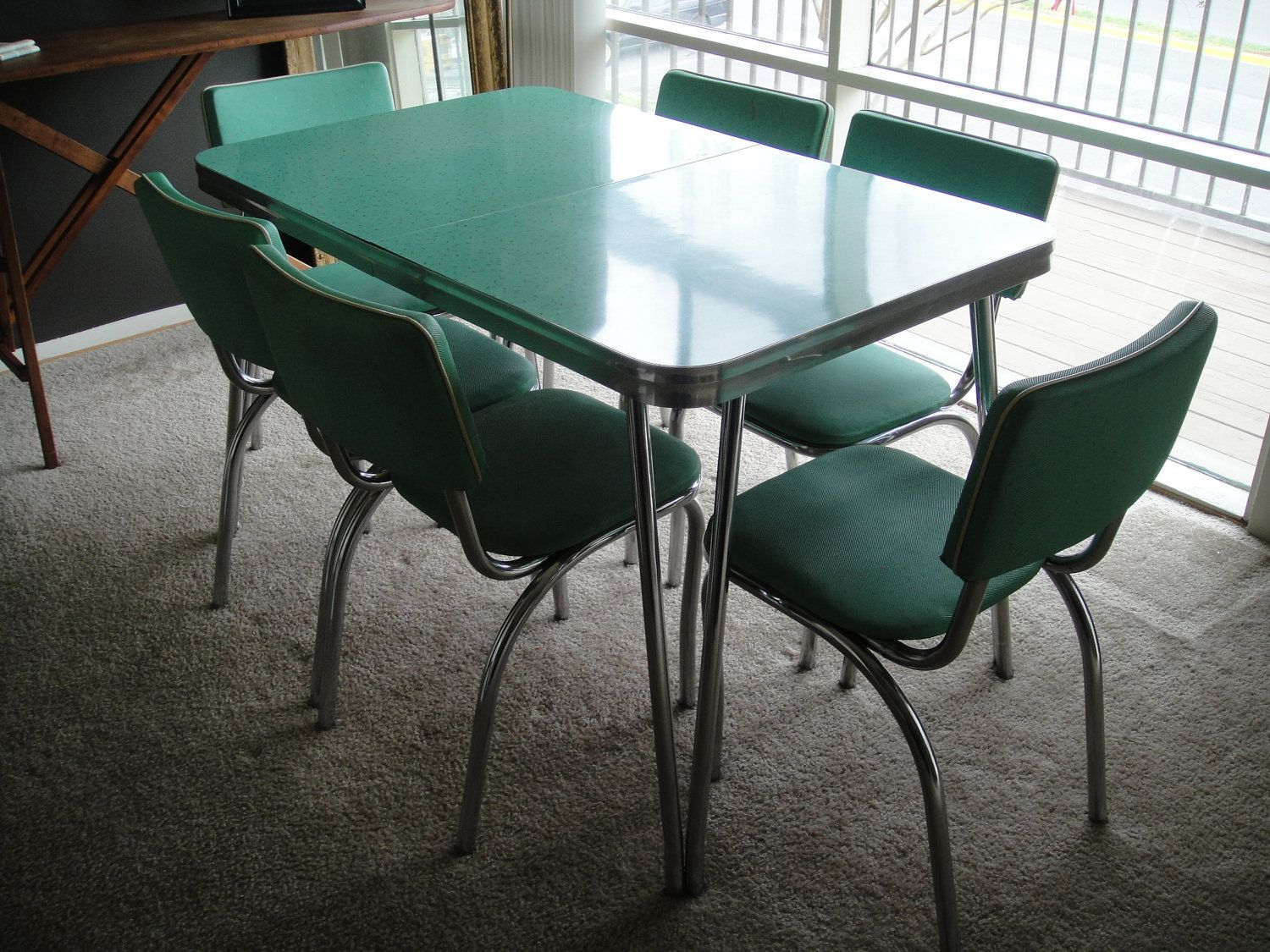 reserved 1950s kitchen table and chairs mint dining set with six chairs formica with chrome legs and details pick up only - Chrome Kitchen Table