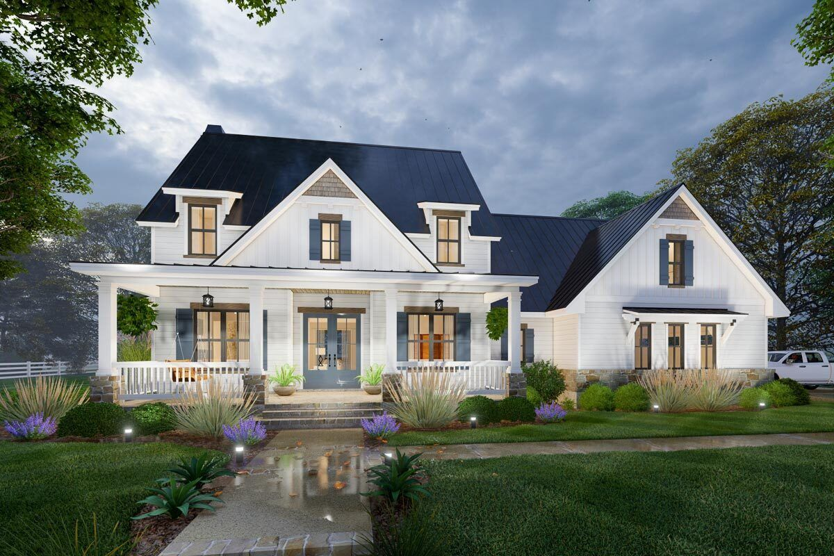 Modern Farmhouse Plan with 2Story Great Room and Upstairs