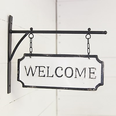 Welcome Embossed Metal Sign On Bracket Hanging Double Sided Ebay Metal Welcome Sign Metal Signs Outdoor Welcome Sign