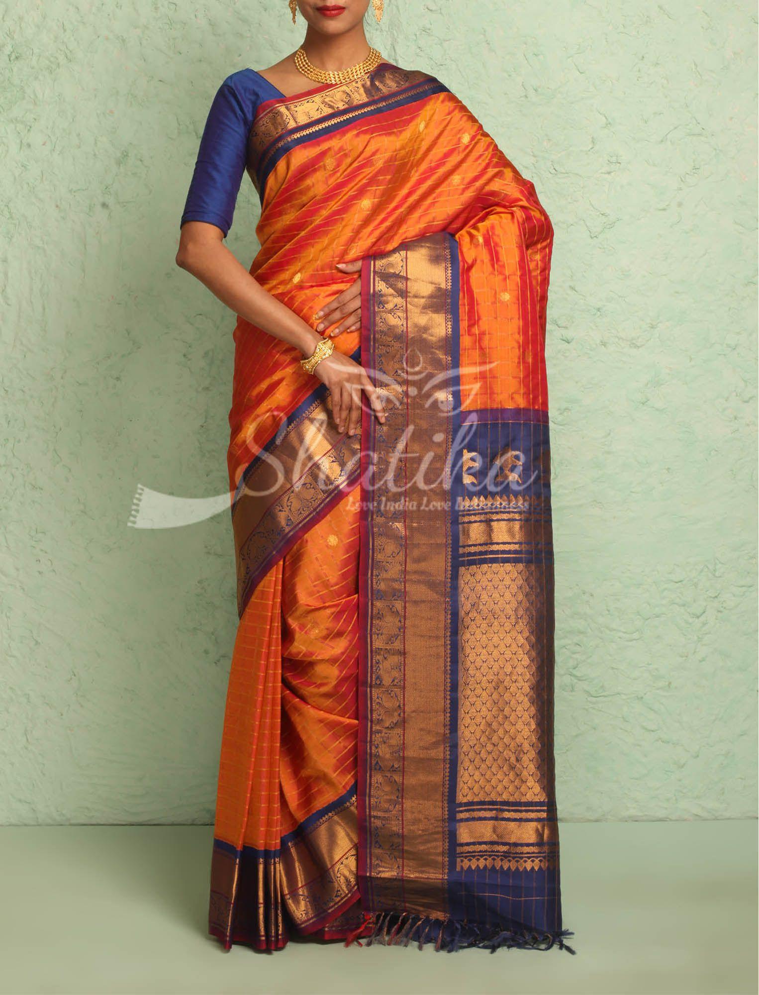 493de94833 Haripriya Rust Orange With Fine Checks Contrast Ornate Border Pallu Pure  Gadwal Silk Saree
