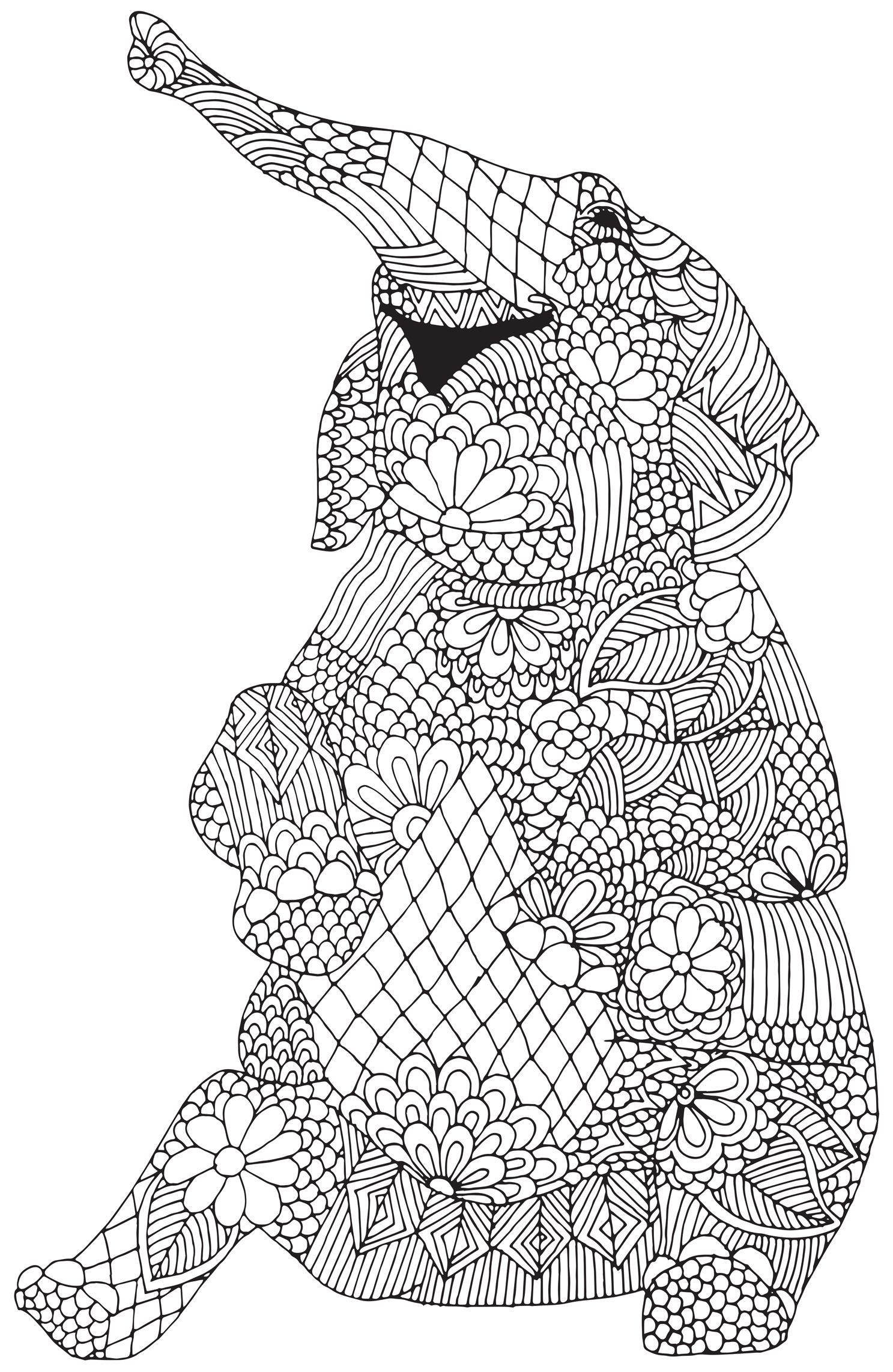 Complicated Elephant Coloring Pages. Happy elephant from  Awesome Animals Abstract Doodle Zentangle Coloring pages colouring adult detailed advanced
