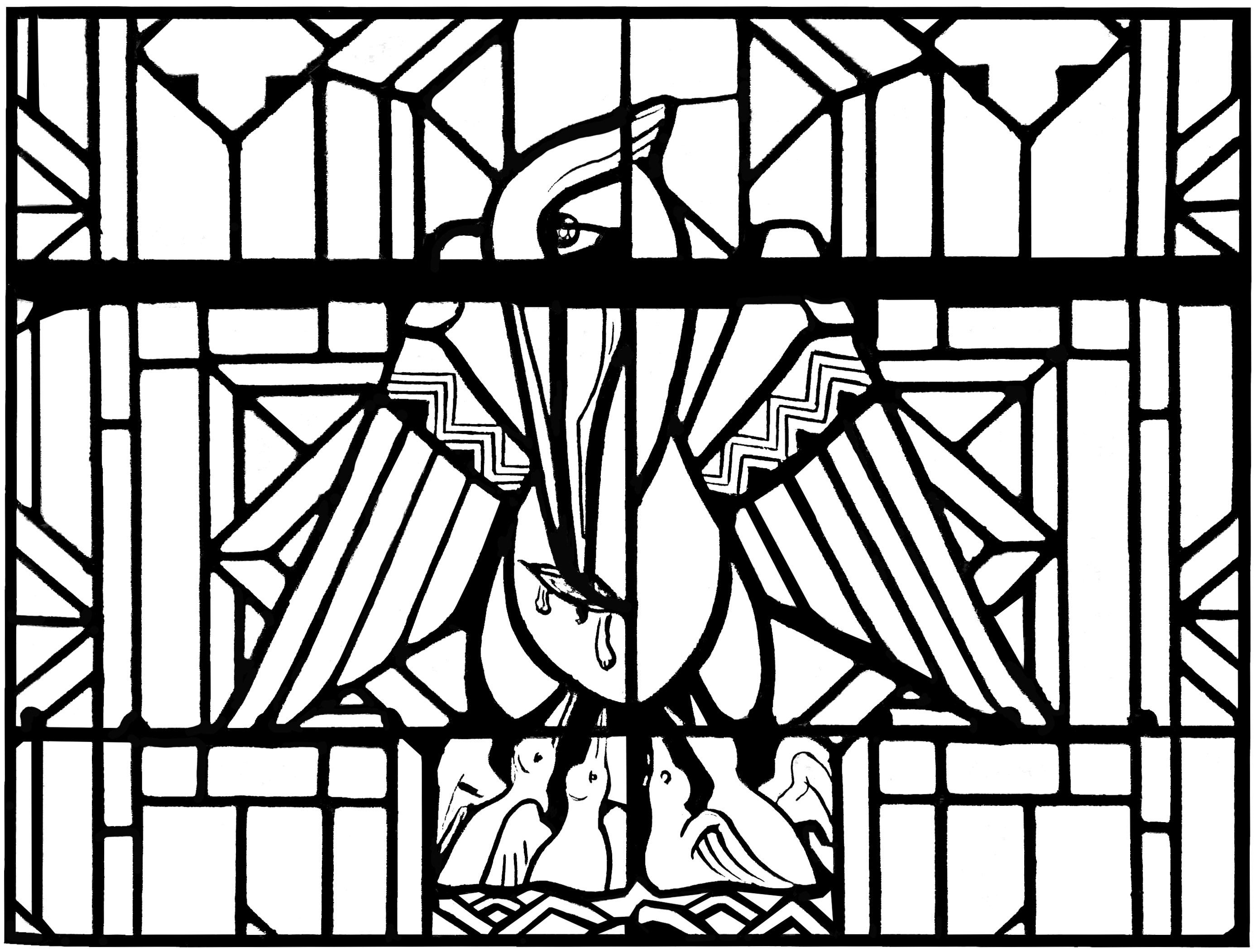Free Coloring Page Adult Stained Glass Pelican Church Arthon