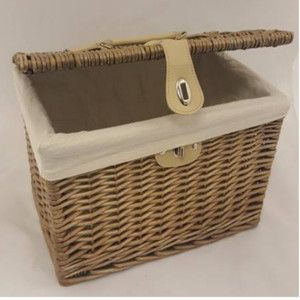 Marvelous Antique Wash Wicker Chest Hamper Basket Lined With Hinged Lid. Made From  Full Buff Willow