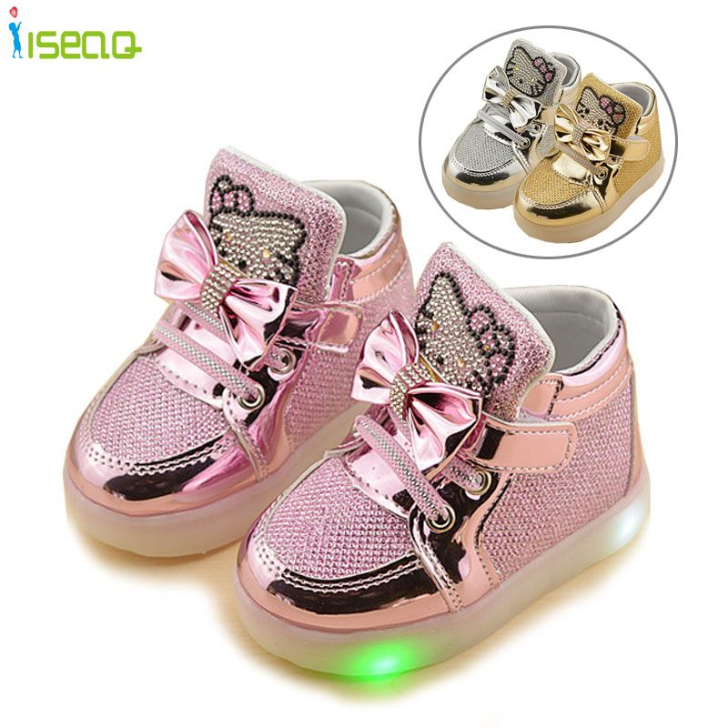 f740edecb luminous sneakers Shoes Spring Hello Kitty Rhinestone glowing Shoes for  Girls Princes led sneaker children EU 21-30 //Price: $25.35 & FREE Shipping  // # ...
