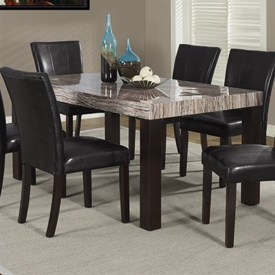 Monarch Specialties Brown Tone Lacquered Marble Look Dining Table I 1908 Dining Room Console Faux Marble Dining Table Dining Table Marble