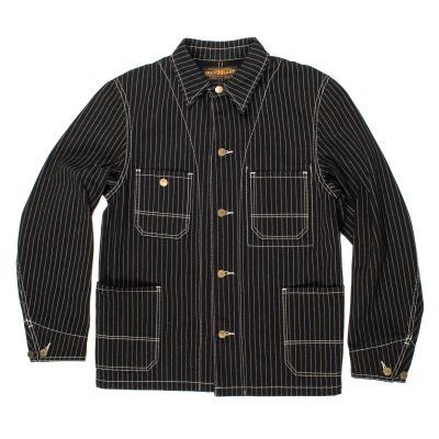 Made in Japan. The fabric consists of separately roped dyed warp and weft, which will fade and age beautifully with wear. Logo'd brass buttons, internal and external patch pockets, two button cuffs and felled seams complete this amazing Chore Jacket.