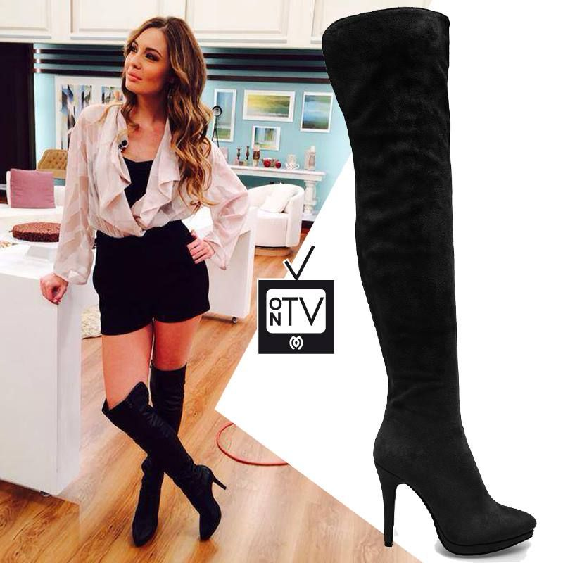 Antonia Kallimoukou wearing the hottest trend of the season, the #MIGATO VG374 over the knee boots!