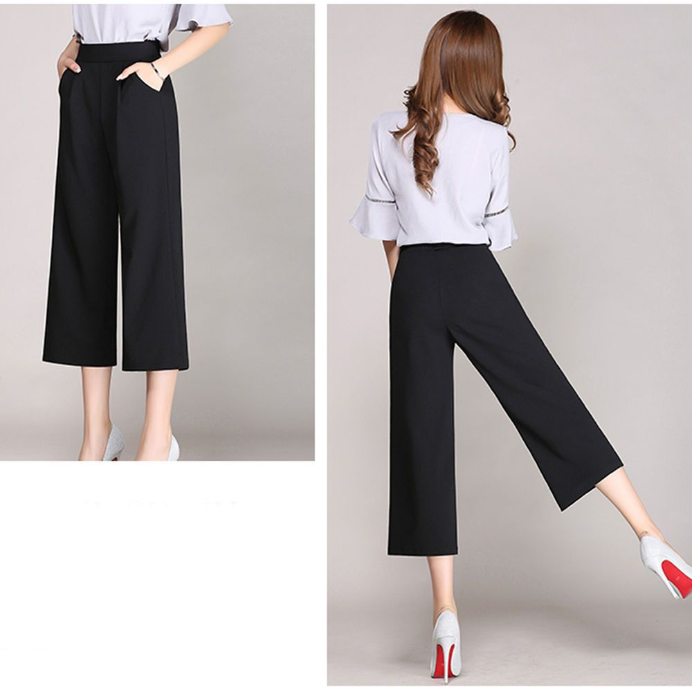 a08ccf7fd83d5 Ladies 3 4 Wide Leg Trousers Casual Pants Loose High Elastic Waist Fashion  Black