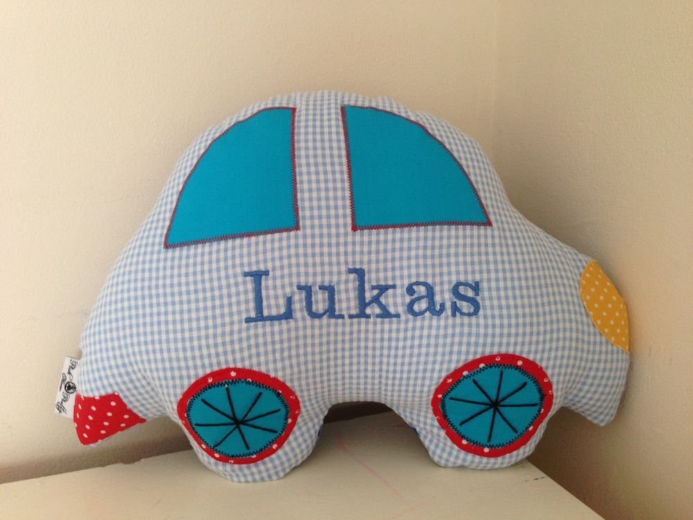 personalized boys blue car shaped travel cushionpillow handmade in home furniture diy childrens home furniture home decor cushions covers