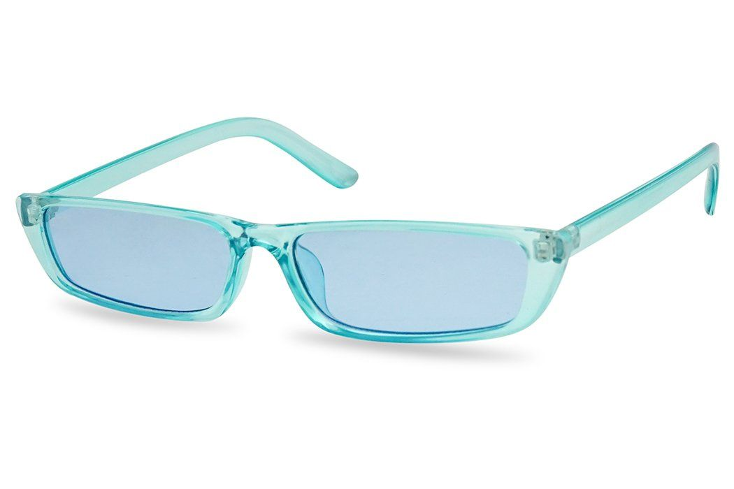 0b92447dc65 SunglassUP 90s Vibe Super Slim Rectangular Candy Colored Transparent Frame  Sunglasses Blue Frame Blue     More info could be found at the image url.