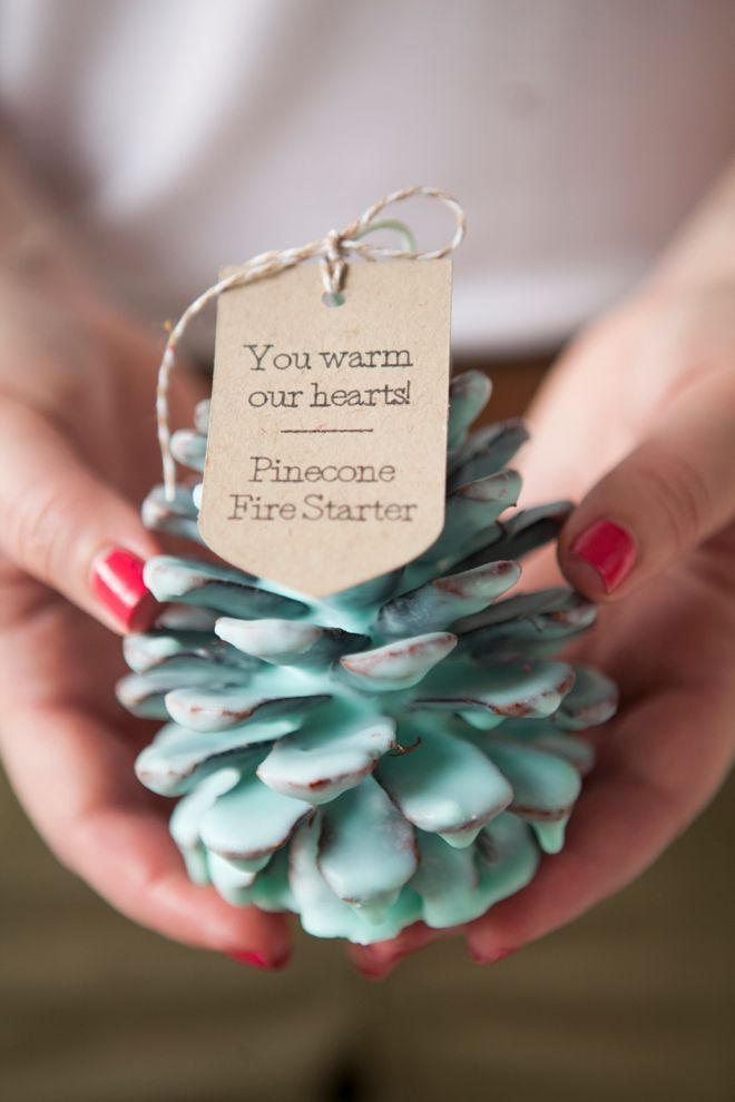 Info's : DIY - How to make Pinecone Fire Starter favors for your winter wedding!