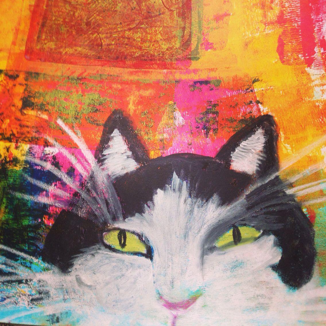 Portrait of Chicho on gelli printed background