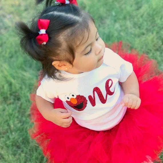bd43a88f8 GLITTER ONE Elmo 1st Birthday Bodysuit Sesame Street First Birthday Shirt  Baby Girl ONE