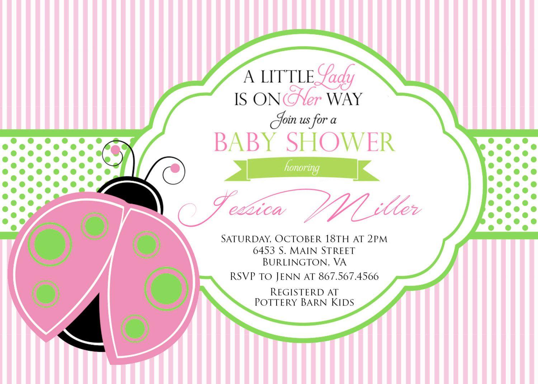 Ladybug Baby Shower Invitation - Pink and Green Ladybug Baby Shower ...