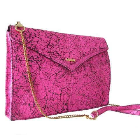 Pink 'Edie' Leather Clutch Bag
