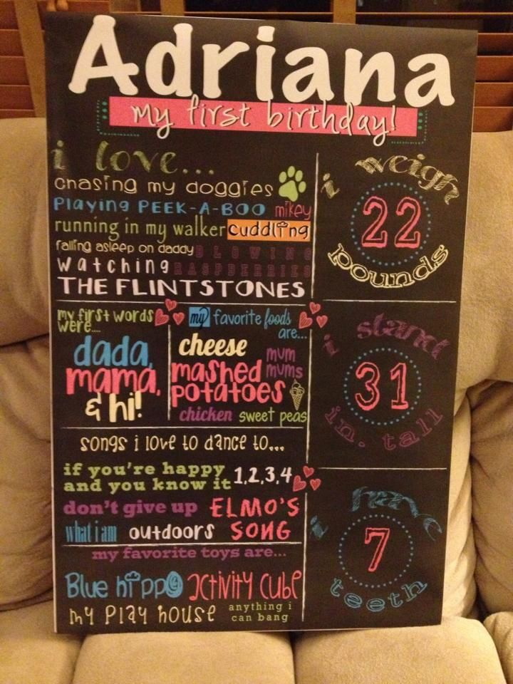 birthday board i created for my daughter's 1st bday. printed at ...