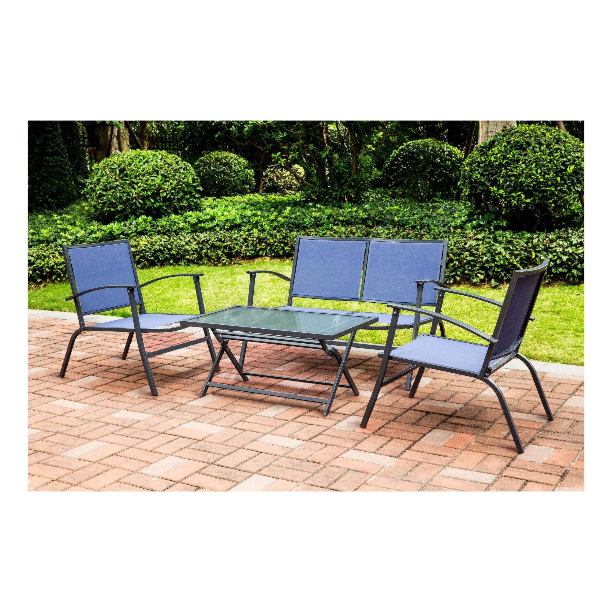 Strange 4Pc Sling Patio Dining Set Blue Threshold Products Download Free Architecture Designs Meptaeticmadebymaigaardcom