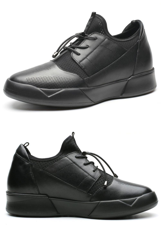 Buty Codzienne Skorzane Meskie Podwyzszajace Wzrost O 7cm W Kolorze Czarnym All Black Sneakers Sneakers All Black