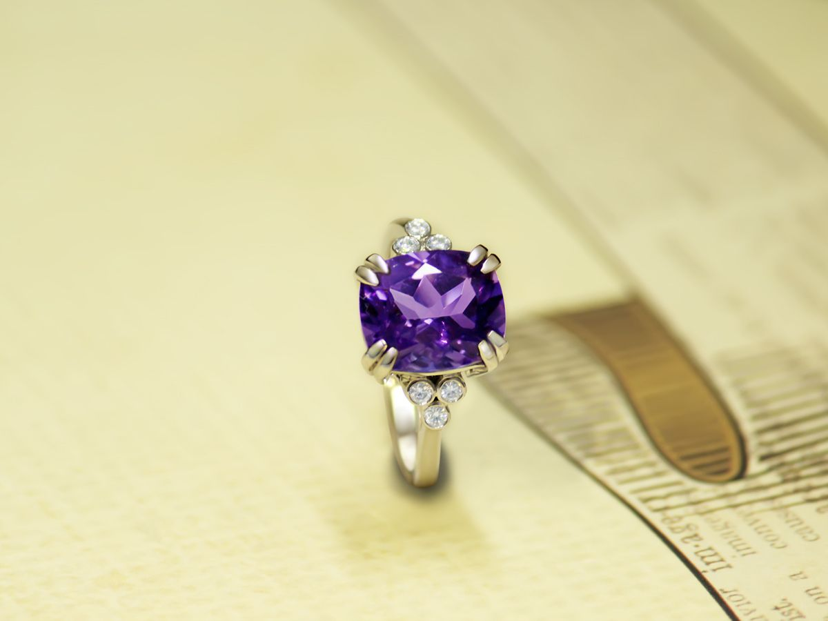 Angara Solitaire Double Claw Amethyst Trinity Ring with Diamond in Yellow Gold yO9jAV8n