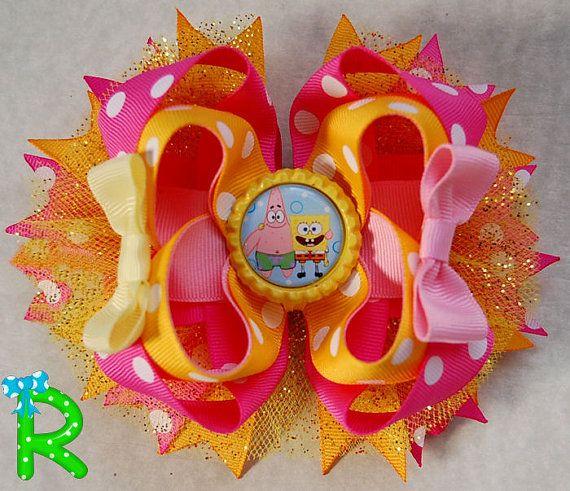 Spongebob Hair  Bow  Spongebob and Patrick  by RoshelysBowtique