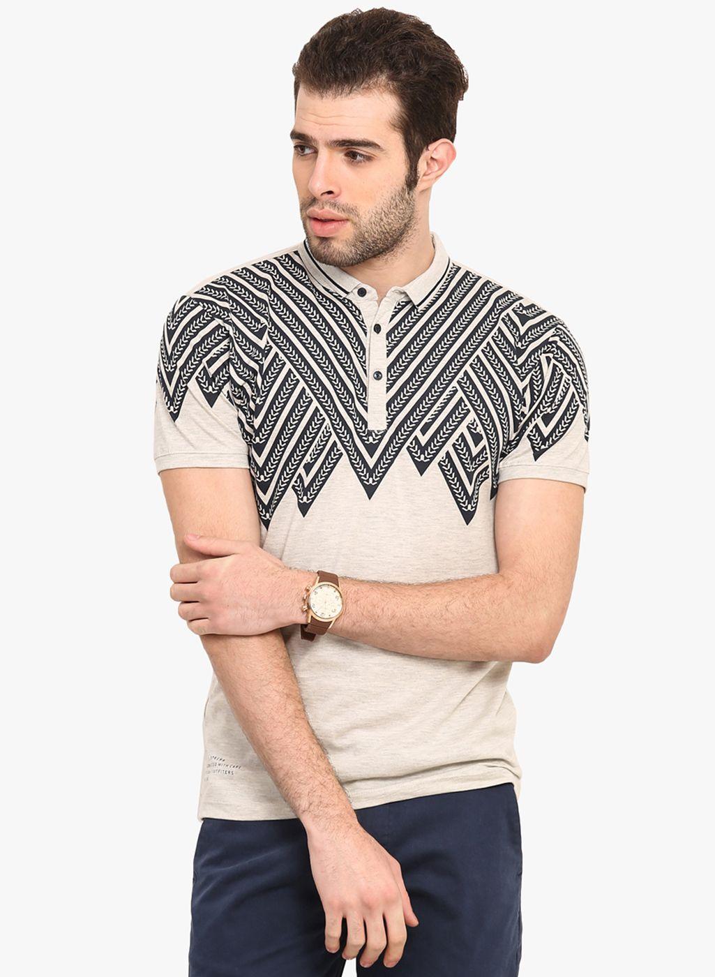 Buy Mode Vetements Light Grey Printed Polo T Shirt For Men Online