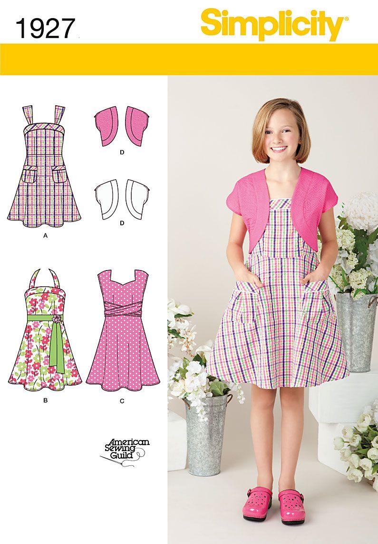 Simplicity 1927 - Girl's Dresses 3 styles and bolero jacket. Great ...