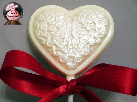 24 Karat Gold Dust & Silver Pearl Chocolate Lollipop Hearts, 1 Dozen, Pearlized Chocolate, Chocolate Covered Lollipops, Milk, Dark, White!
