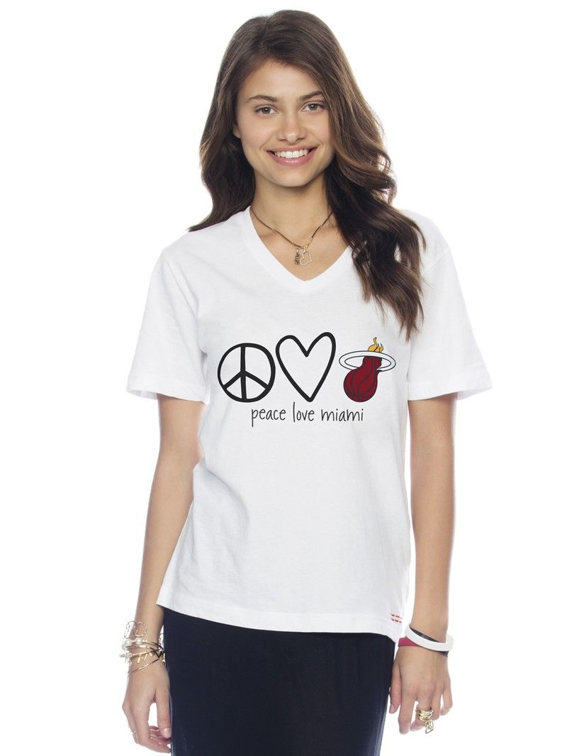 Peace Love Worldmi Heat White V Neck Tee Musthave