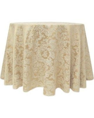 Miranda Damask 132 Inch Round Tablecloth In Champagne From Bed Bath U0026 Beyond