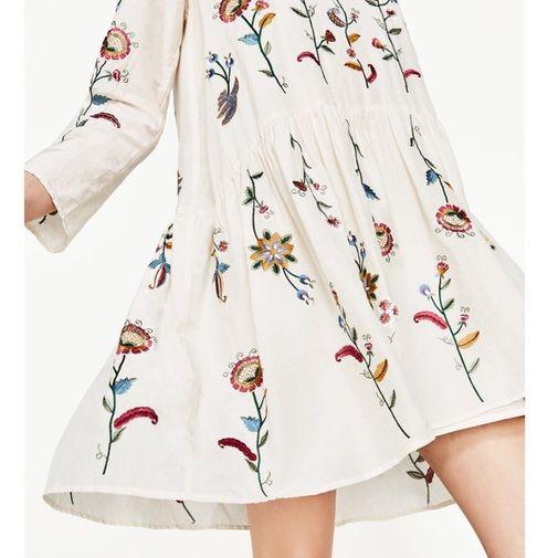 Zara ChicfyModa Vestido Vestido Zara Flores Vestido Flores Bordadas Bordadas ChicfyModa Flores Bordadas CxhtsrBQd
