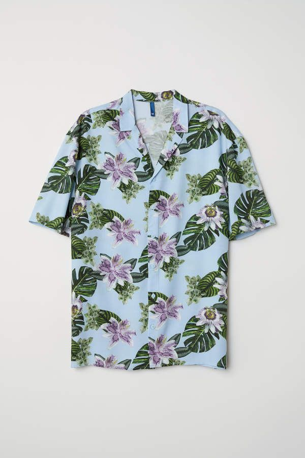 fc3e6a2b H&M Patterned Resort Shirt - Light blue/floral - Men | Products in ...