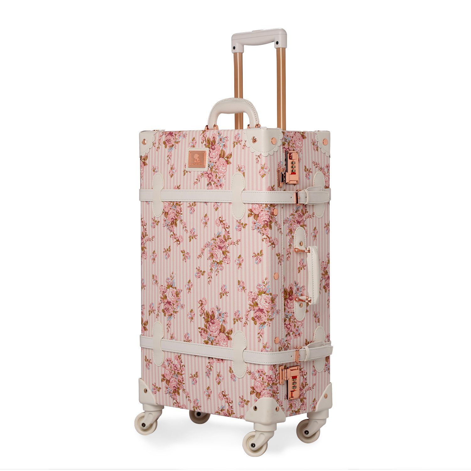 Unitravel Floral PU Leather Vintage Luggage Suitcase Rolling With Spinner Wheels Apply To 20