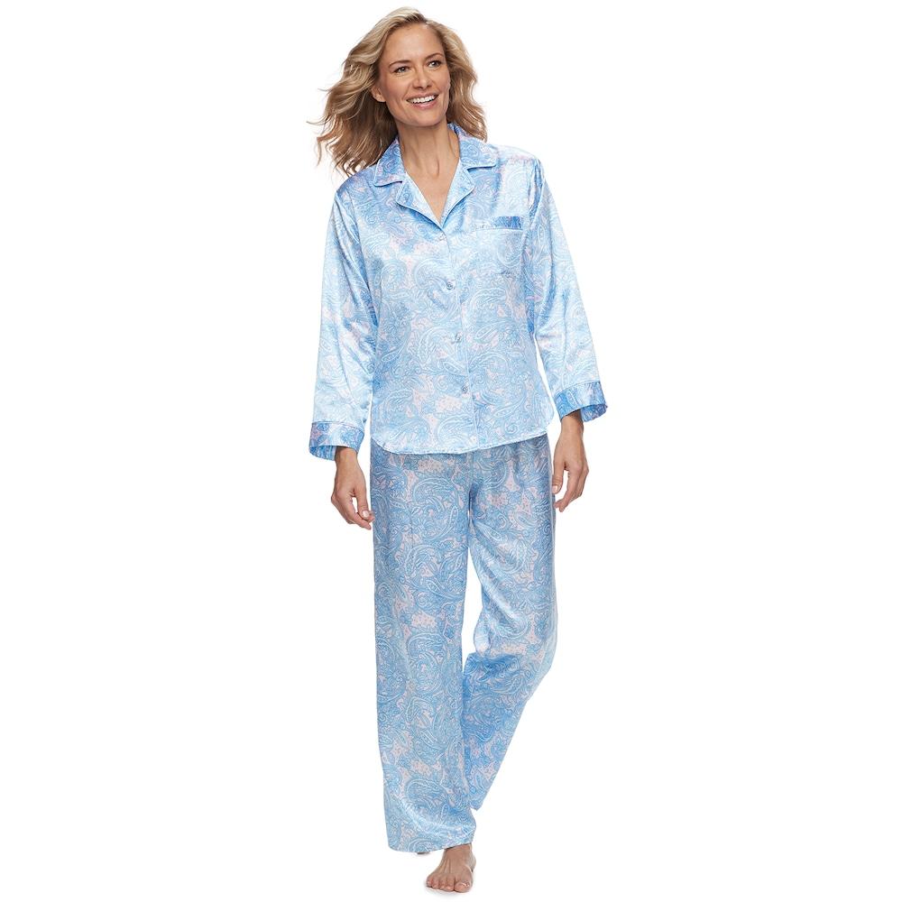 b4f376d3b0 Women s Miss Elaine Essentials Paisley Satin Shirt   Pants Pajama ...