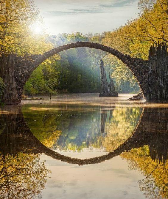 Beautiful Places...Rakotzbrücke (Rakotz Bridge), Kromlau, Germany, photo via Conde Nast Traveler.