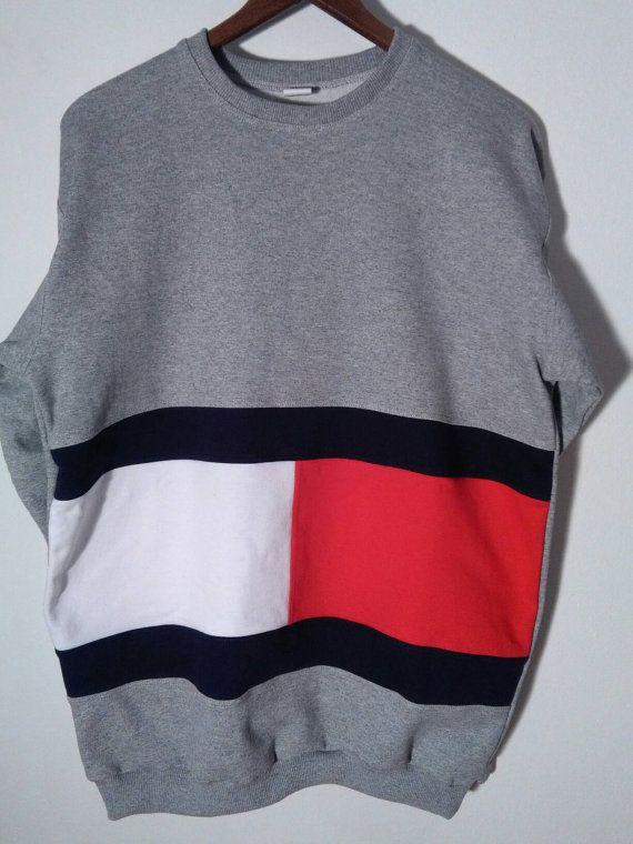 27fbe93f7afd Vtg Tommy Hilfiger sweatshirt   Big Logo   Retro old school tommy ...