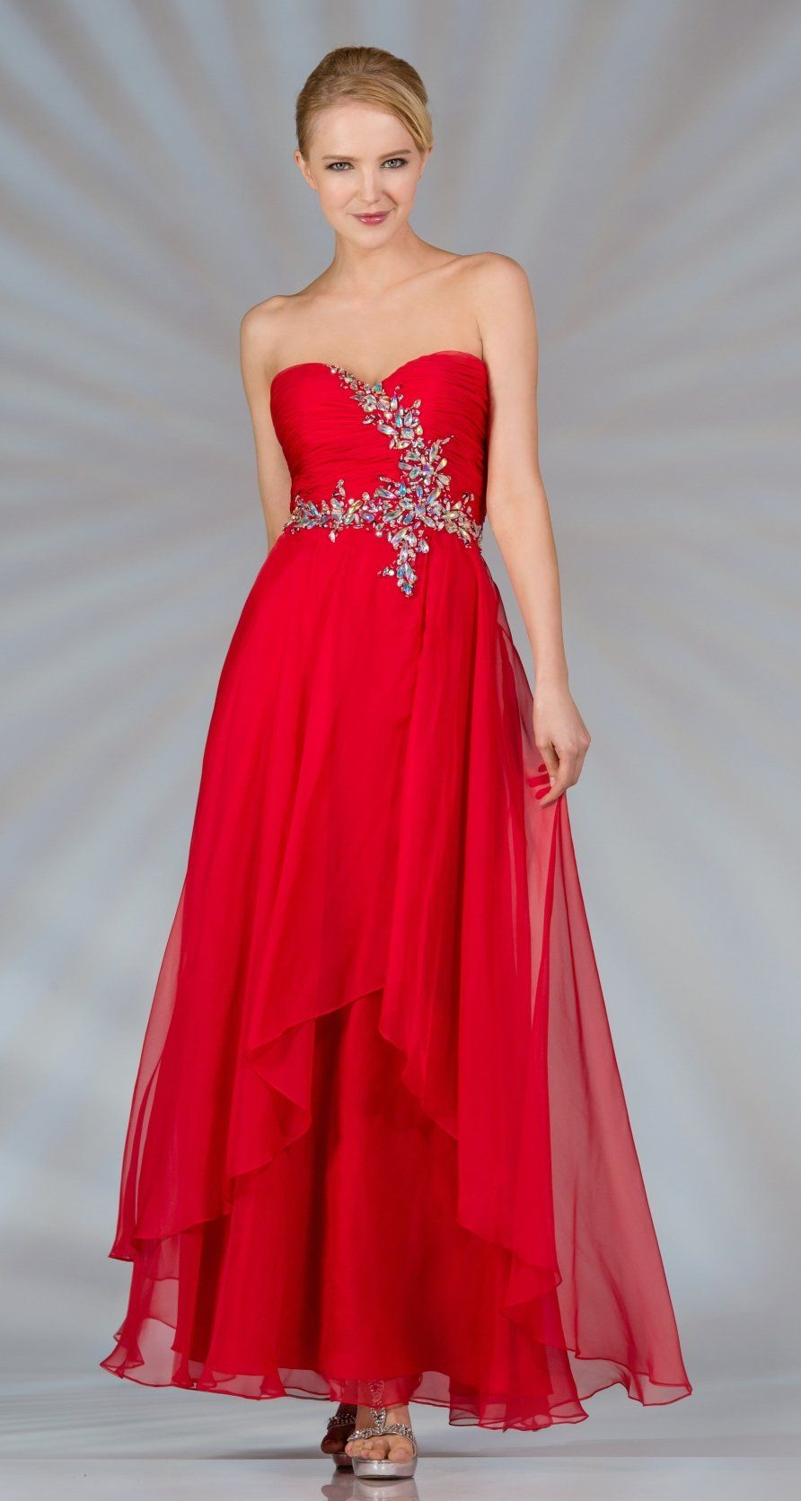 Double layer chiffon red formal gown strapless long large jewels