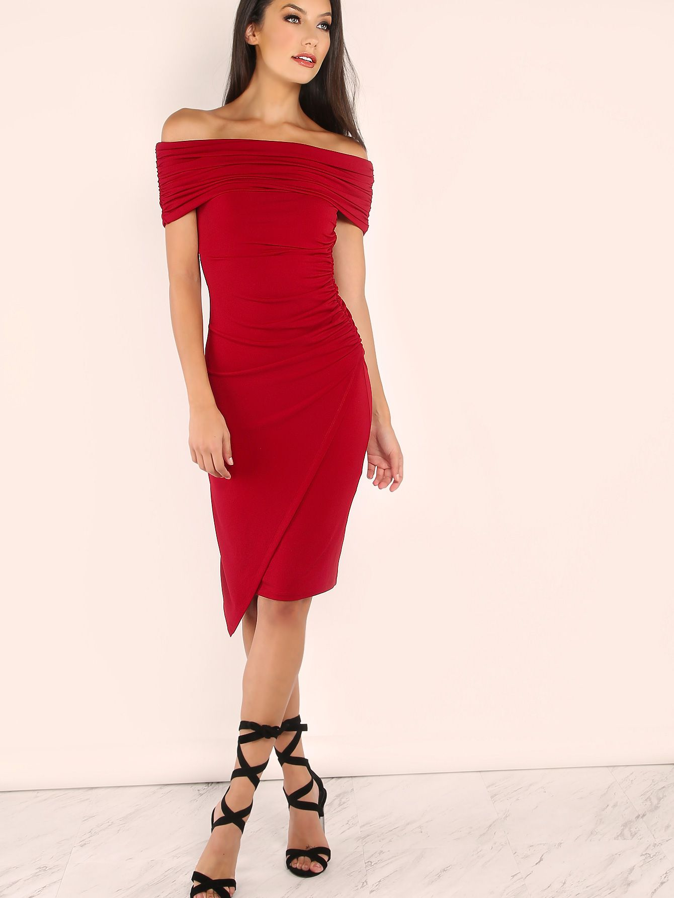 Red foldover off the shoulder ruched wrap dress pinterest wrap