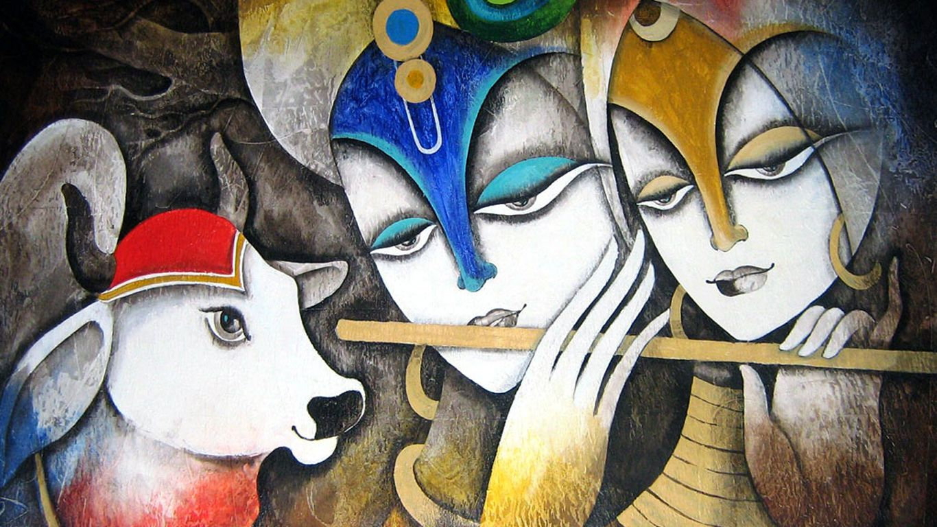Radha With Krishna Latest Glass Painting Wallpaper Hd Wallpapers