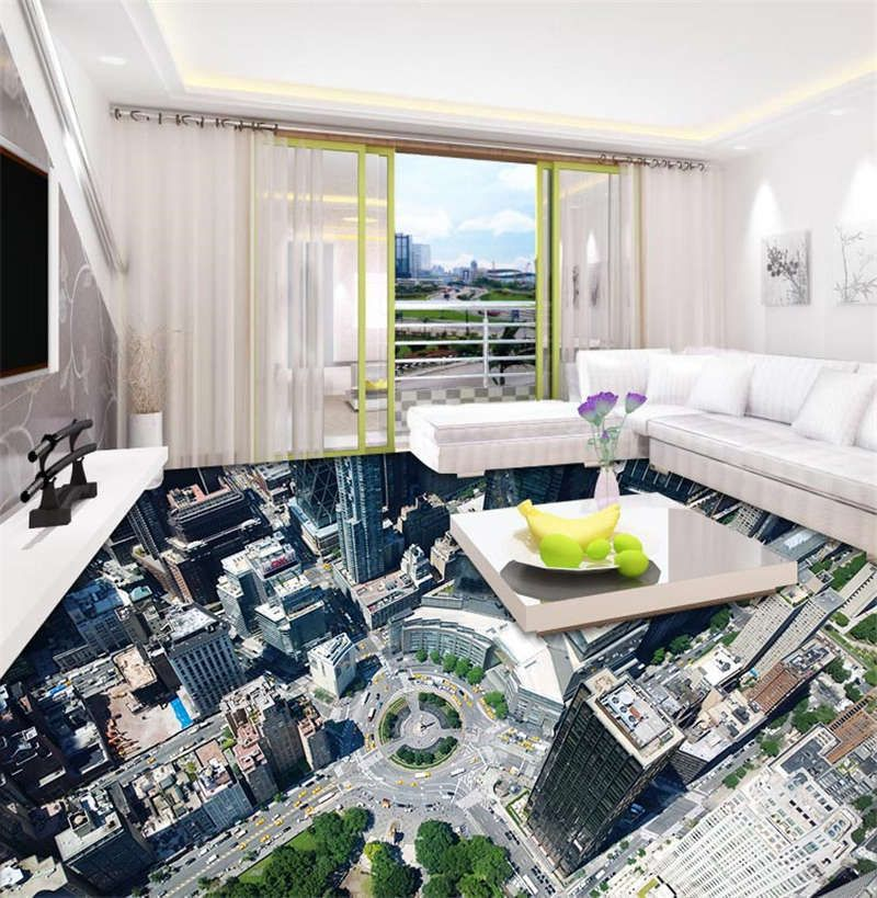 centre city skyscrapers 3d floor mural photo flooring wallpaper home