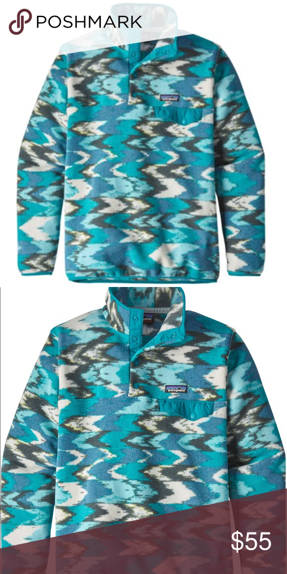 7ee912fead11d Patagonia Lightweight Synchilla Snap-T Pullover Patagonia Lightweight Synchilla  Snap-T Fleece Pullover Color: Elwha Blue/Trout Tales Size: Women's Large ...
