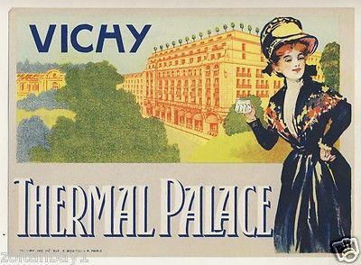 Old Luggage Label Kofferaufkleber Etichetta Hotel Thermal Palace Vichy France   eBay